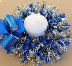 Candy Wreath Centerpiece Silver Blue Edible by CandyWreathsbyCarla