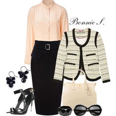 work outfit by bonnaroosky on Polyvore featuring Vanessa Bruno, By Malene Birger, Karen Millen, Givenchy, Prada, Vieste Rosa, Linda Farrow Luxe, pencil skirts, tweed jackets and pink
