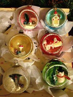 Vtg Mica Shiny Brite Indent Scene 3D Diorama Mercury Glass Xmas Ornaments Japan | eBay