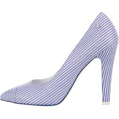 Pre-owned Chanel Striped Cap-Toe Pumps (6,095 EGP) ❤ liked on Polyvore featuring shoes, pumps, blue, striped pumps, chanel pumps, cap toe pumps, blue shoes and pointy cap toe pumps