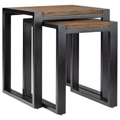 Atelier - Industrial Chic - Wood nesting table with metal legs/Side Tables/Coffee Tables & Side Tables/Shop By Product/ATELIER Bouclair|Bouclair.com