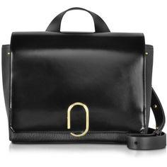 3.1 Phillip Lim Designer Handbags Alix Black Leather Messenger Bag ($1,705) ❤ liked on Polyvore featuring bags, messenger bags, black, handbags, flap bag, genuine leather bag, 3.1 phillip lim, leather courier bag and hardware bag