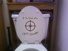 Ready Aim Fire Toilet Humor Bathroom Vinyl Decal Sticker Funny Gag Gift Prank