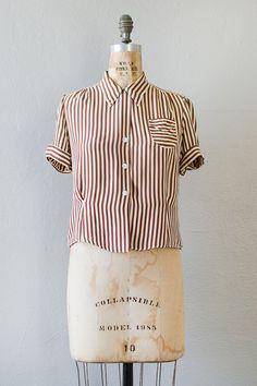 vintage 1940s brown striped silk rayon blouse