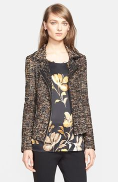 St. John Collection Leather Trim Ribbon Knit Jacket (Nordstrom Exclusive) available at #Nordstrom