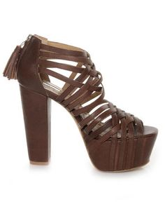 #Matiko Havanna Natural Brown Super Strappy Super Platform Heels