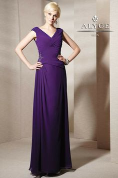 MZ0375 Purple Chiffon A-Line Cap Sleeves V-NECK Fashion Mother of the Bride Dresses 2014 Long  $129.99