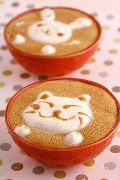 Coniglietto e gattino nel cappuccino ;) Latte Art!