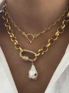 Collier de chaîne en or collier minimal de chaîne d'or | Etsy Chunky Gold Necklaces, Gold Pearl Necklace, Pearl Bracelets, Pearl Rings, Necklace Chain, Colar Mix, Collar Hippie, Jewelery, Jewelry Necklaces