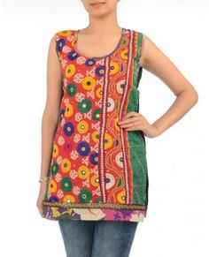 Fiery Red Tunic with Kutch Embroidery