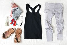 what to pack for a yoga retreat... love the sandals... I've had so many pairs of those...
