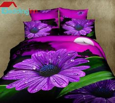 #purple #floral #3d #beddigninn $115.59 Live a better life, start with @beddinginn http://www.beddinginn.com/product/New-Arrival-Beautiful-Purple-Daisy-Flower-Print-4-Piece-Duvet-Cover-Sets-10903385.html
