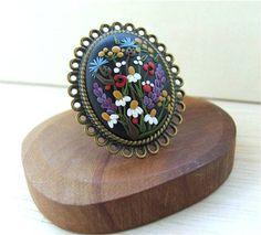 Floral Ring Large Ring Black Ring Colorful Floral от Floraljewel