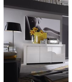 sydney small sideboard in high gloss white 3 drawer 1 door | high, Wohnzimmer