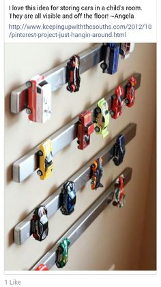 Great way to store cars. Put magnets on bottom of cars and line them up on the strip.