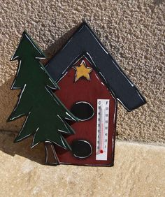 Birdhouse thermometer and fir tree de la boutique LULdesign sur Etsy