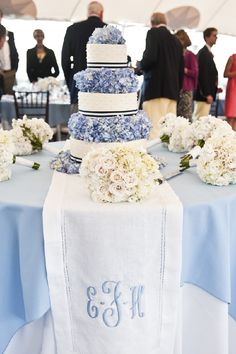 Calling it Home: Blue and White Wedding color blue, monogram, carolina blue, wedding cakes, hydrangea, cake tables, bridesmaid bouquets, table runners, flower