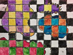 Color Grid - Free form shapes and complementary colors. 3rd graders.