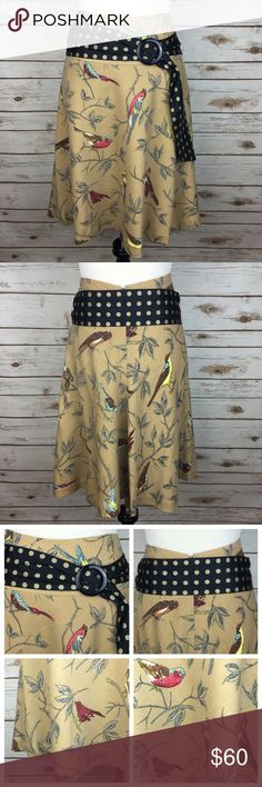 """[Anthropologie] Wool Finch Skirt Bird Boho Nature Beautiful nature inspired Finch pattern skirt by Elevenses from Anthropologie. Fit and flare style. Hidden back zip. Polka dot sash belt.   Fabric: 100% Wool (Lining is 100% Acetate) Waist: 15"""" Length: 21"""" Condition: EUC. No flaws!   NO TRADES! Anthropologie Skirts"""