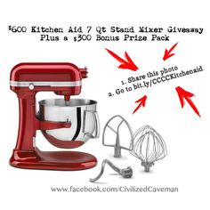 KitchenAid Giveaway - 7 Quart Bowl Lift Stand Mixer and 300 dollars worth of Gift Certificates.  Under 10 seconds to enter.  Repin this photo and then follow the link. Find out how you can easily acquire the best kitchen stand mixer for your kitchen at http://www.smallappliancesforkitchen.net