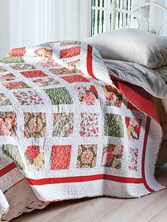 Summer Shores Quilt Pattern Download from e-PatternsCentral.com -- Showcase your favorite fabric collection with this fast and easy strip-pieced modern bed quilt.