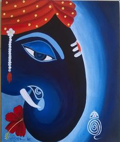 Buy Vighnesh painting online - original museum quality artwork by Sangita Powar, available at Gallerist. Check price, painting and details online. Lord Ganesha Paintings, Ganesha Drawing, Ganesha Art, Krishna Art, Ganpati Drawing, Ganesha Rangoli, Krishna Tattoo, Buddha Painting, Buddha Art