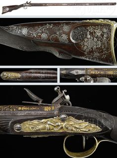18th/19th Century Flintlock Rifle crafted by Nicholas Noel Boutet,  Nicholas Noel Boutet was a French gunmaker during the late 18th and early 19th century popular for making fine quality pieces.  Clientele included various wealthy nobles, European rulers, and even the Emperor Napoleon Bonaparte.  While the flintlock rifle above is not signed in his name it has been proven to be of his work.