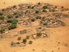An aerial photo of a village in the Republic of Chad, Central Africa