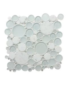"""Bubble tiles would be cute in the laundry room. Request 1/4"""" backer board in correct size to mount it.  Paint backer board white.  Attach tiles with Weldbond."""