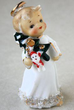 Vtg Japan Ceramic Angel Figurine Xmas Holding Tree Santa Doll Book Spaghetti