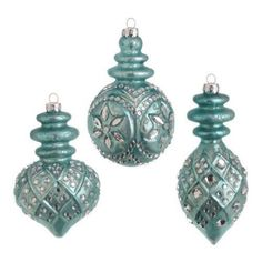 RAZ Imports - Antiqued Blue Glass Ornaments – PerfectlyFestive.com