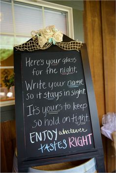 cute idea. mason jars w/ chalkboard on them for guests to write their names on and keep as a keepsake.
