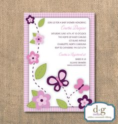 Butterflies and Flowers Baby Shower Invitation 5X7 por DGInvites