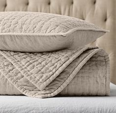 Vintage-Washed Hand-Quilted Belgian Linen Coverlet