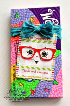 Jaded Blossom stamps, and love the nerdy cut file.this is sooo cute, also peachy keen stamps for the cute face. Nerd Party, Peachy Keen Stamps, Geek Glasses, We Go Together Like, Ribbon Banner, Bloom, Treat Holder, School Gifts, Treat Bags