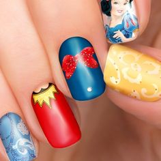Ive illustrated and made these nail art wraps of the beautiful Disney Princess, Snow White They are super cute, easy to apply and can be used with gel and acrylic nails. The nail transfers come in 3 sizes with nail gems included: ⭐️Long for full length nails up to 38mm, for 14 nails Disney Nail Designs, Black Nail Designs, Princess Nail Art, Princess Disney, Disney Inspired Nails, Disney Nails, Nail Polish Stickers, Nail Decals, Snow White Nails