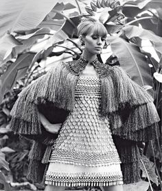 1967 Danielle Sauvajeon in Yves Saint Laurent's African-inspired dress from his famous SpringSummer
