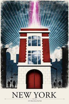 """New York"" Travel Poster Print Justin Van Genderen Inspired By: Ghostbusters Original Ghostbusters, Ghostbusters Party, The Real Ghostbusters, Ghostbusters Poster, Ghostbusters Firehouse, Poster On, Poster Prints, Poster Series, Fantasy"