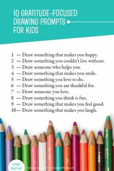 10 Gratitude Drawing Prompts — Thanksgiving Art Activity for Kids! - - Help your children understand and feel gratitude through art. Check out this list of 10 simple gratitude-based drawing prompts for your children. Art Therapy Activities, Art Activities For Kids, Learning Activities, Kids Learning, Art For Kids, Art Therapy For Children, Drawing Activities, Kids Therapy, Nanny Activities
