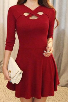 Simple V-Neck 3/4 Sleeve Solid Color Hollow Out Criss-Cross Women's Dress Casual Dresses | RoseGal.com