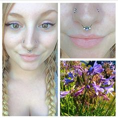 Repost from @allyfel. I pierced her septum months ago and we recently upgraded it to a 14g 5/16 titanium seam ring with a light purple opal in between 2 white cz's made from @anatometalinc!  #anatometal #septum #septumpiercing #nosepiercing #flowers #piercings #piercing #piercer #pretty #jewelry #love #brookings #oregon #harbortattoogallery  (at Harbor Tattoo Gallery)