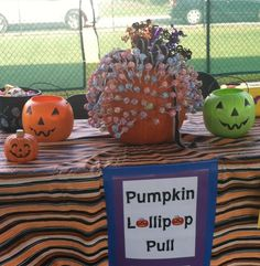 Fall Festival Pumpkin Lollipop Pull... Color the tips of the lollipops to corresponding colored prize buckets!!