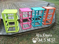 spray paint plastic drawers for colorful classroom organization