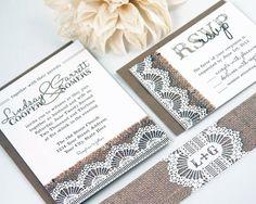 Burlap & Lace Wedding Invitation Suite - DEPOSIT