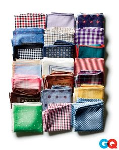 Pocket squares I have navy, light gray, and brown suits