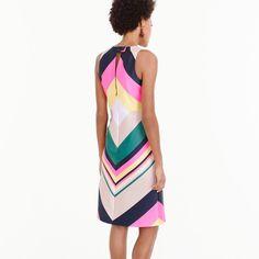 J.Crew Pop-Stripe Dress (655 BRL) ❤ liked on Polyvore featuring dresses, lined dress, striped dress, zip back dress, white sheath dress and white striped dress