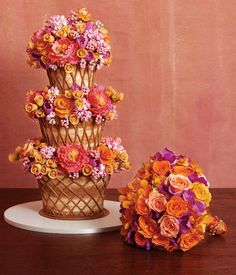 Does the cake match the bouquet or the bouquet match the cake?