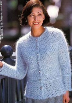 View album on Yandex. Baby Knitting Patterns, Hand Knitting, Crochet Patterns, Crochet Coat, Crochet Cardigan, Crochet Clothes, Angora, Cardigans For Women, Lana