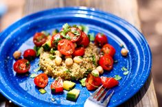Quinoa Cake with Cherry Tomatoes and Chickpeas