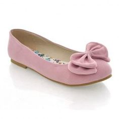 $10.88 Sweet Casual Women's Flat Shoes With Suede Solid Color Bow Design